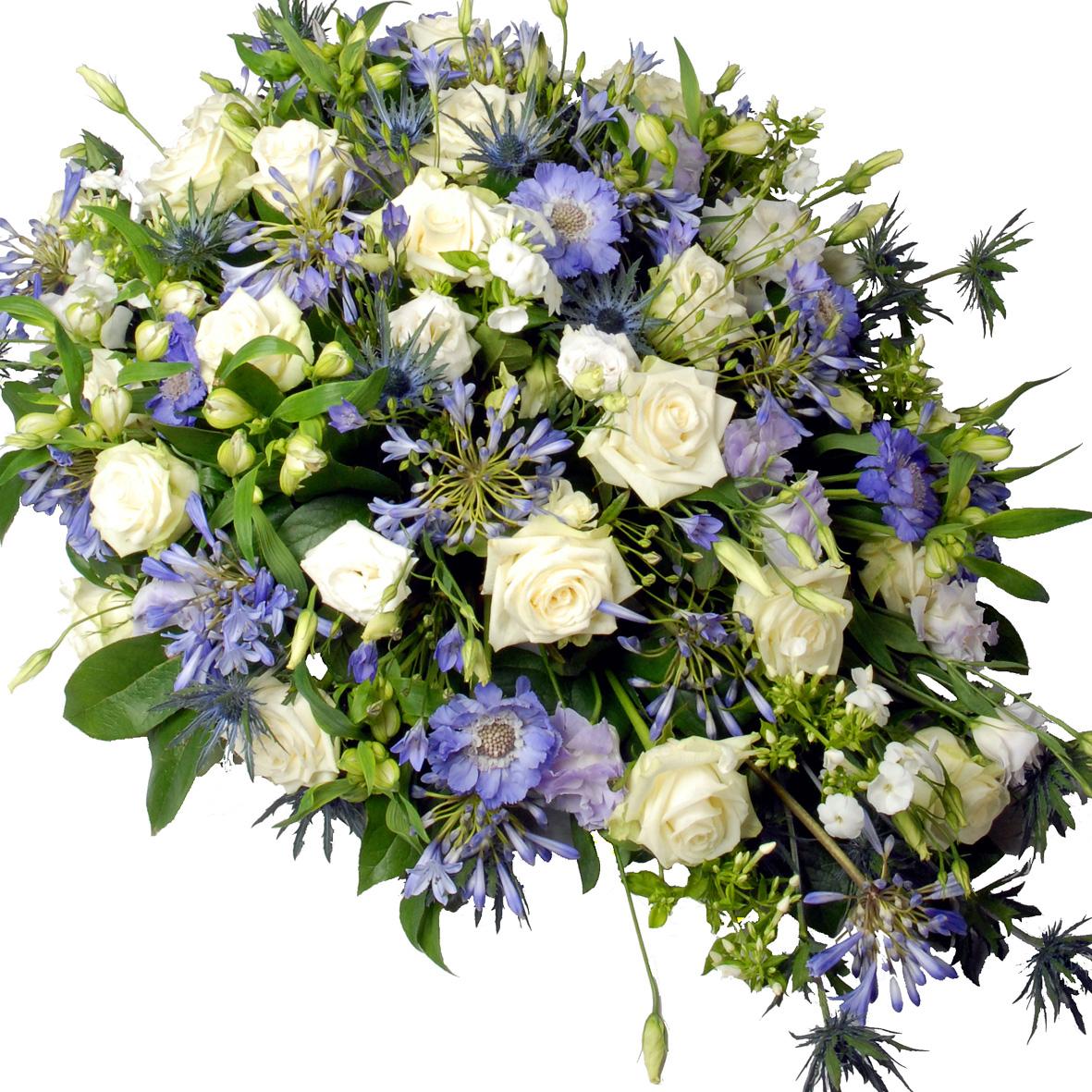 Rouwstuk ovaal blauw - paars - wit