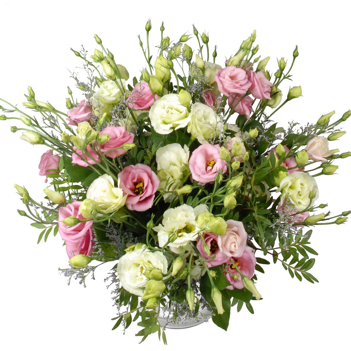 Roze en witte eustoma bloemen