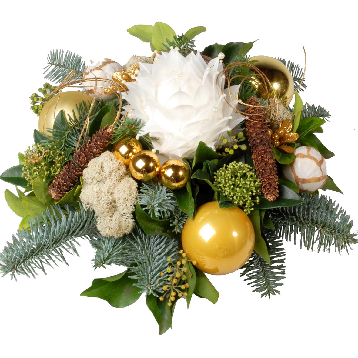 Kerststuk wit goud bestellen