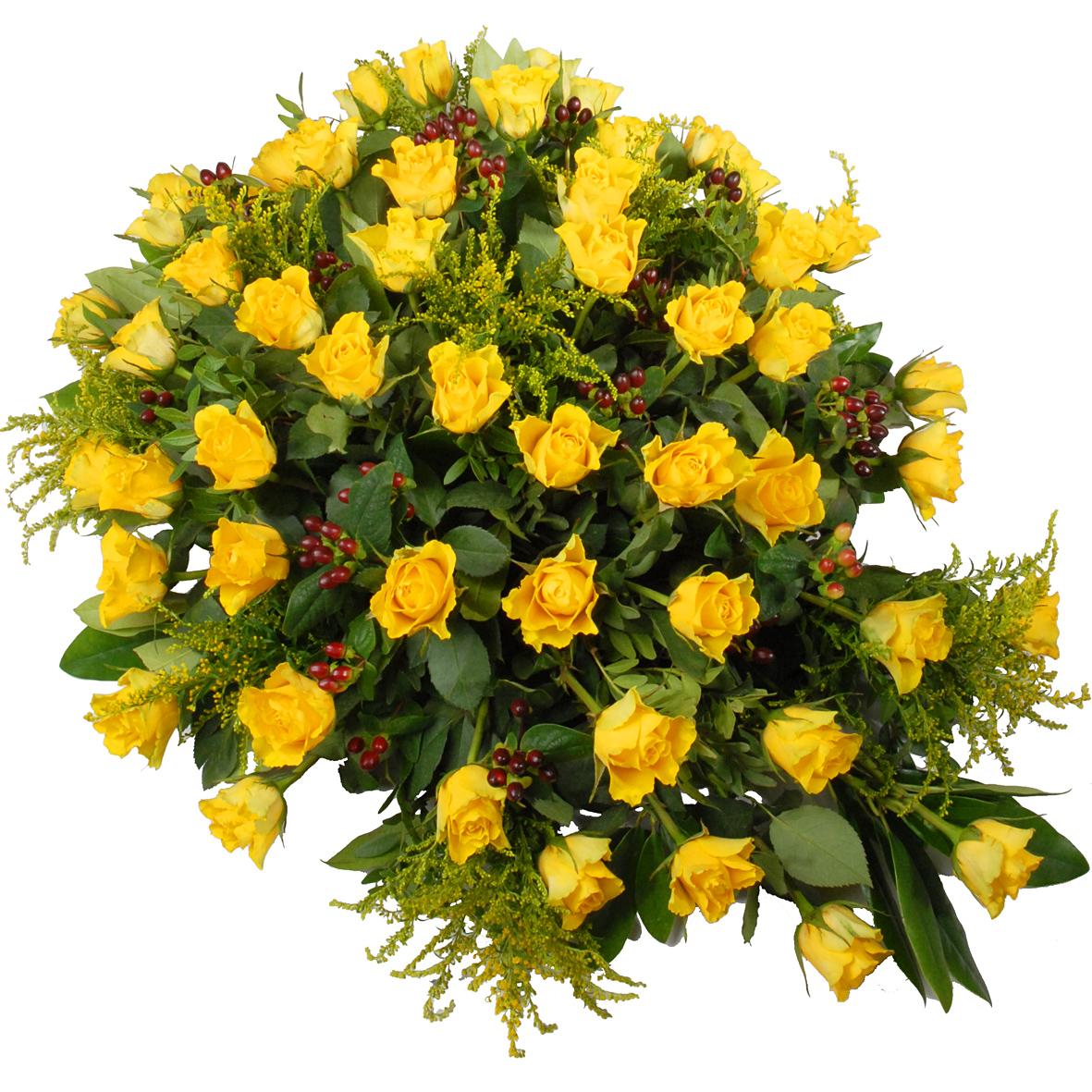 Rouwstuk gele rozen