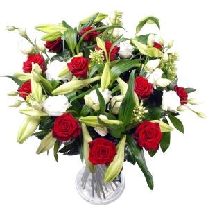Boeket sensationeel! Rode rozen + wit