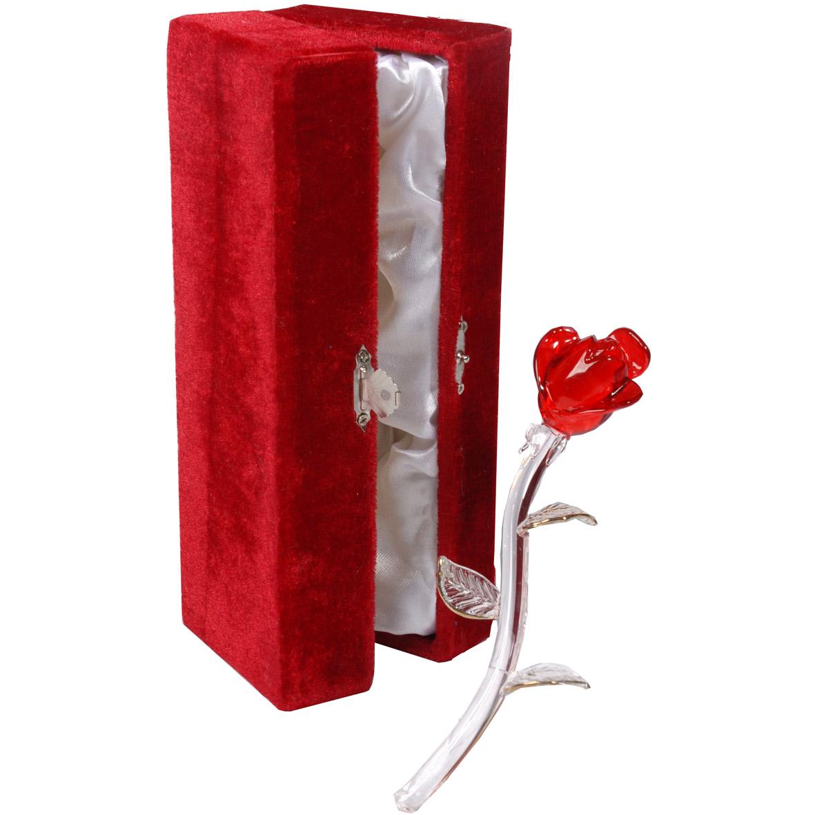 Planten Glazen rode roos in luxe doos