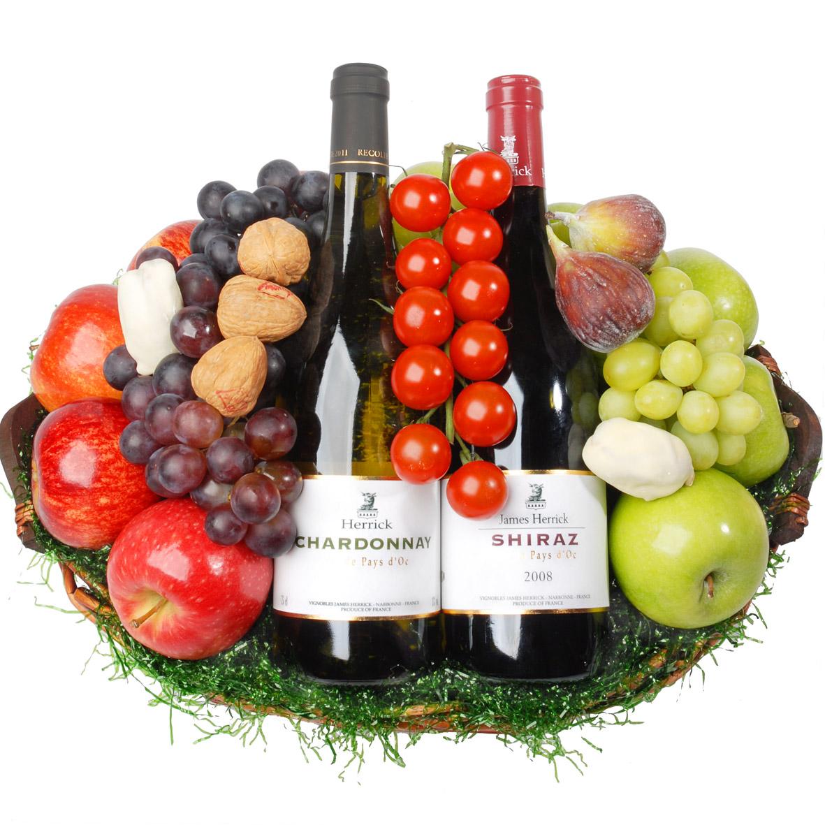Rode en Witte wijn Fruitmand