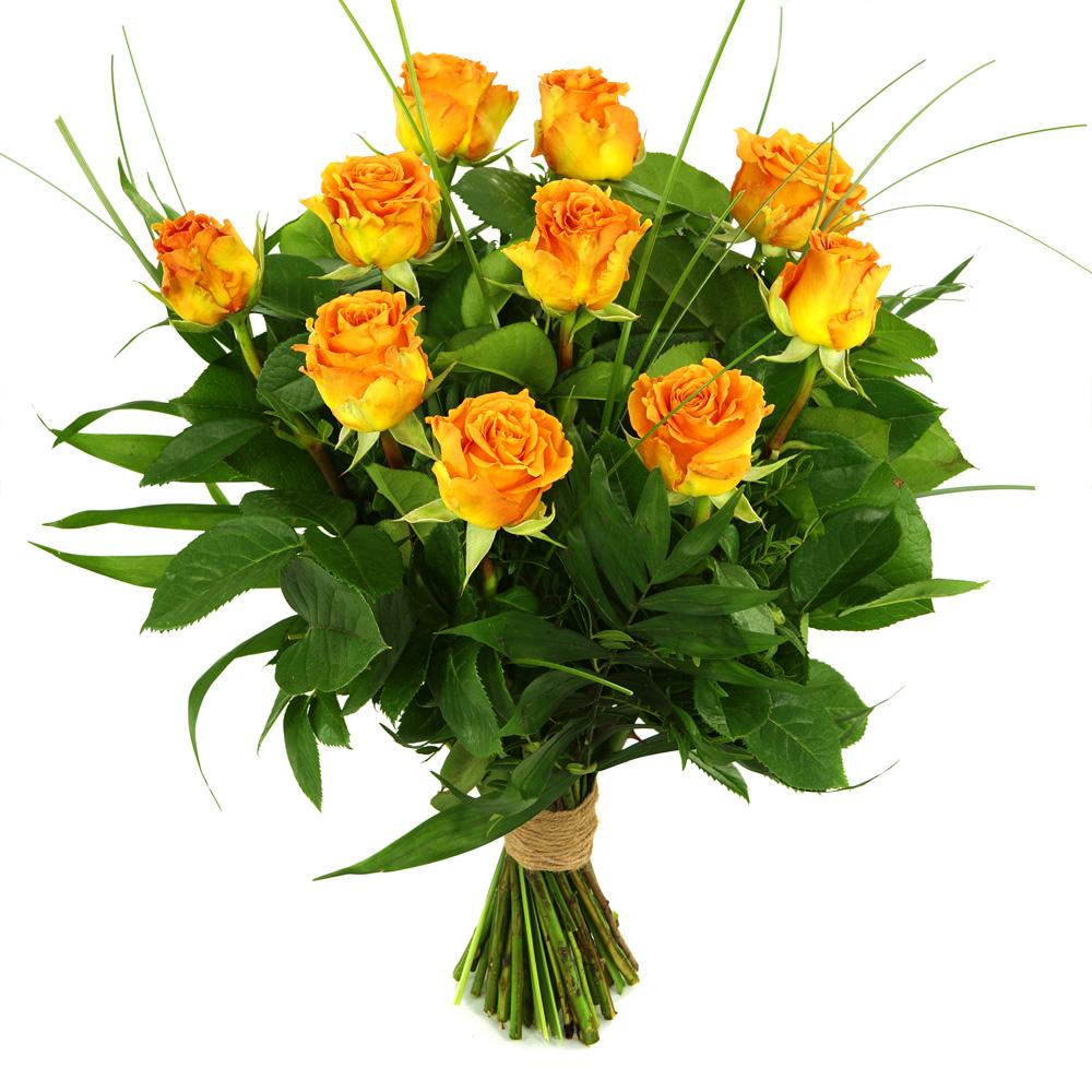 10 Oranje/zalm rozen