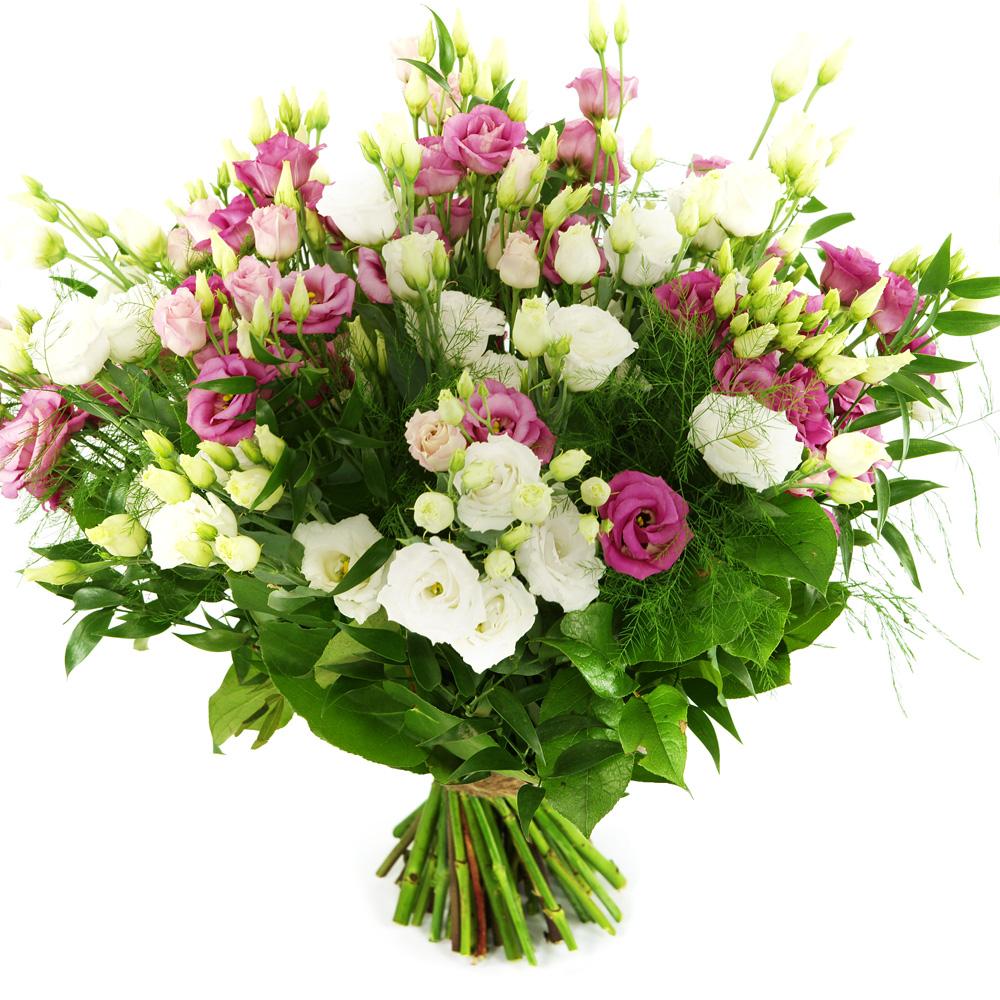 Boeket roze en witte eustoma