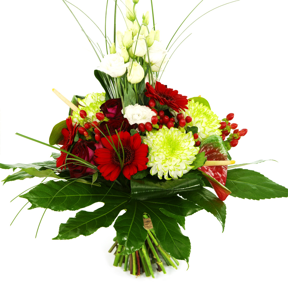 Planten Modern boeket rood groen wit
