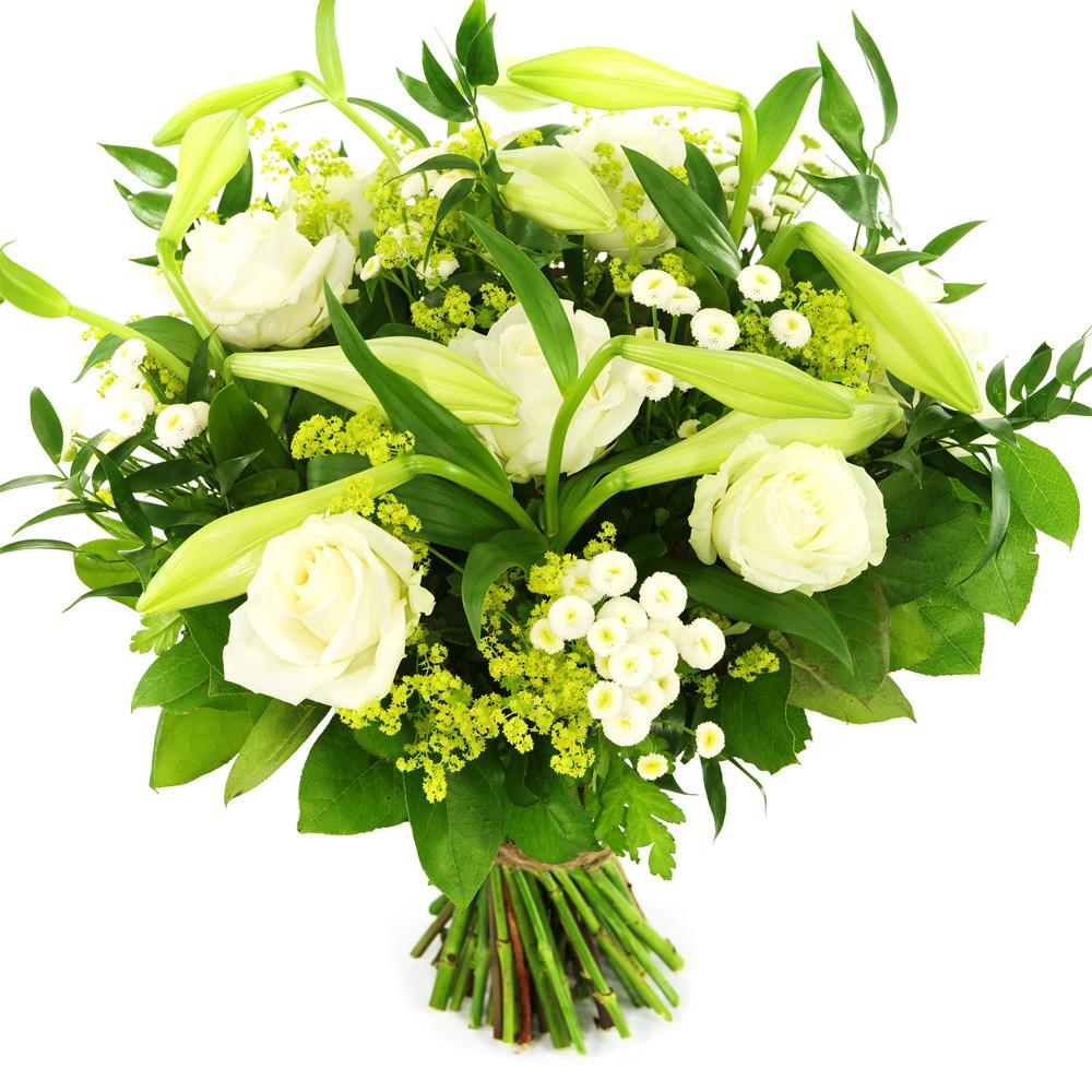 Boeket witte lelie en witte rozen