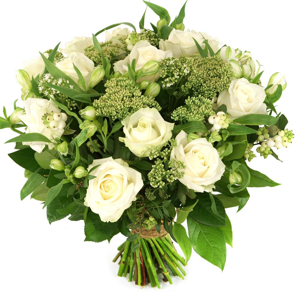 Planten Moederdag boeket witte rozen en bloemen
