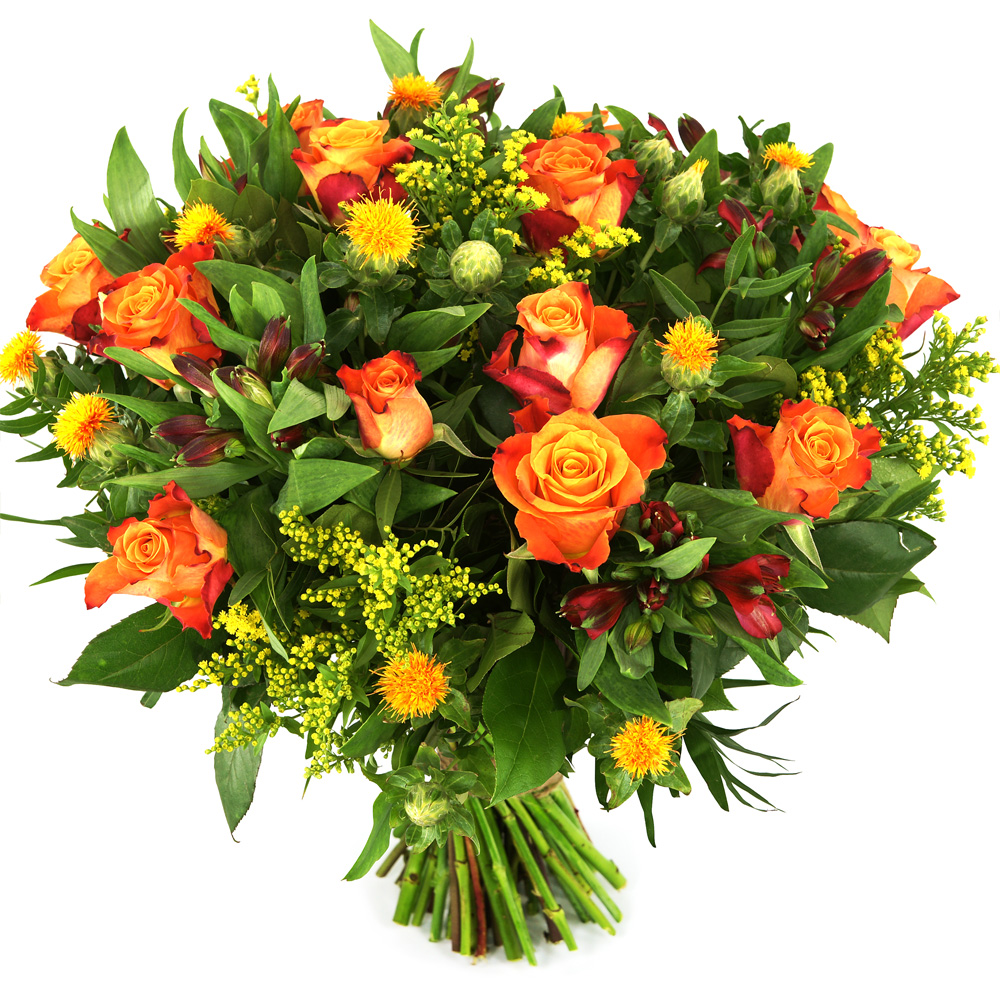 Oranje rozen en bloemen