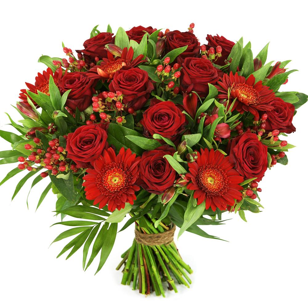 Rode rozen en rode bloemen