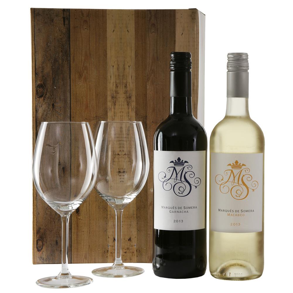 Rode en witte wijn + 2 wijnglazen Marqu�s de Somera