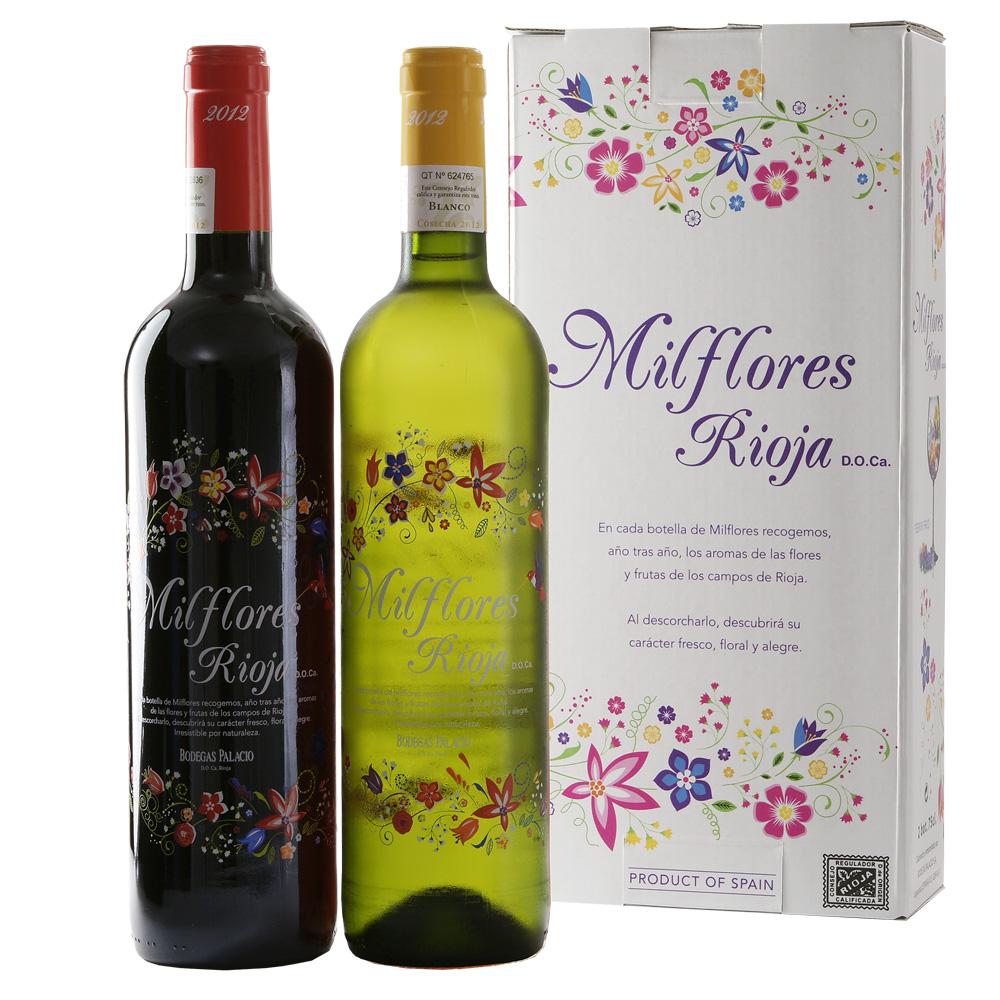 Wijngeschenk Milflores rode en witte wijn