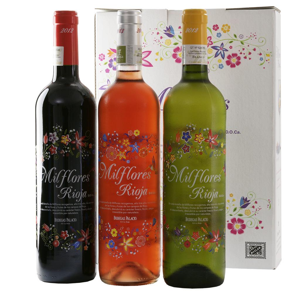 Rode Witte Rosé wijn Milflores Rioja Bodegas