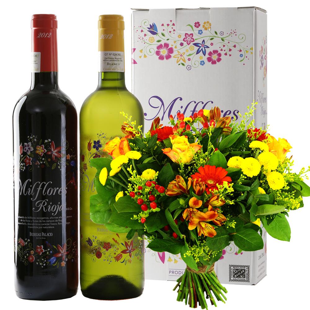 Bloemen en wijngeschenk Milflores Rioja wijn