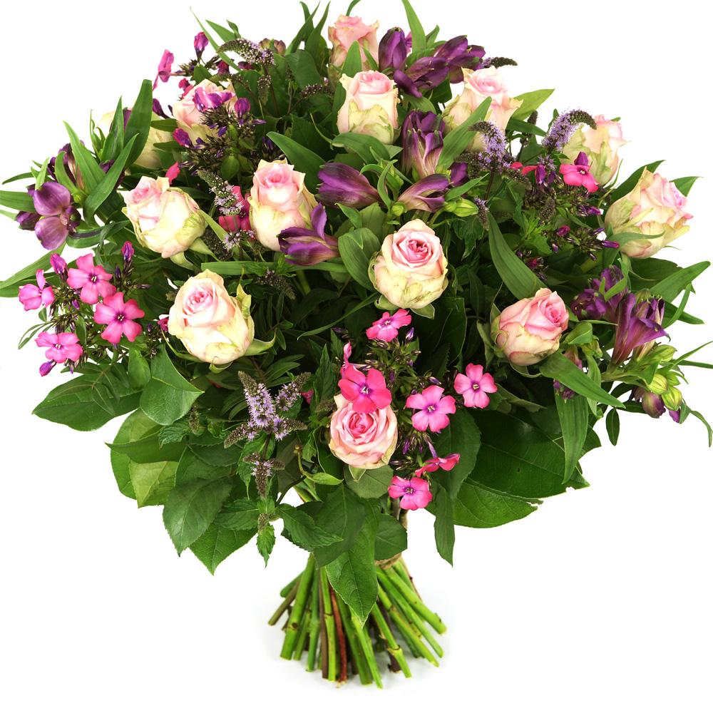 Roze rozen met bloemen bestellen