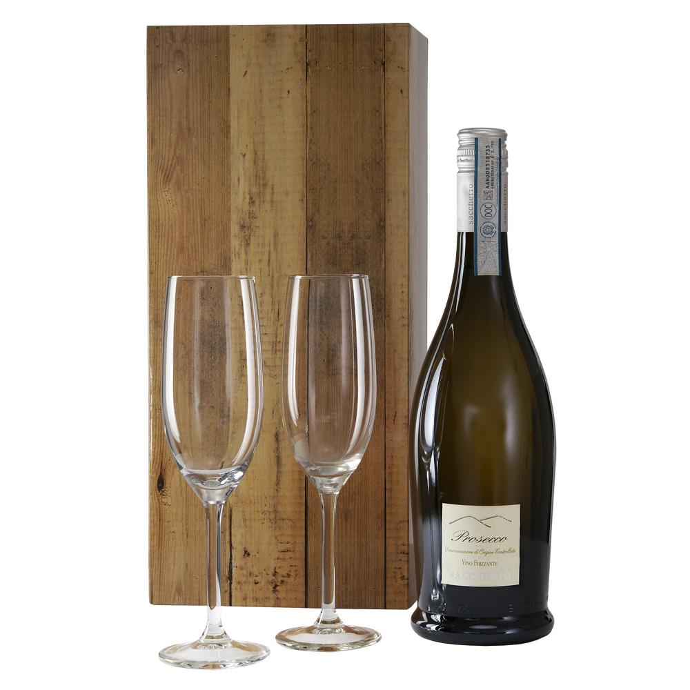 Prosecco wit met 2 champagne glazen kopen doe je bij van der Voort