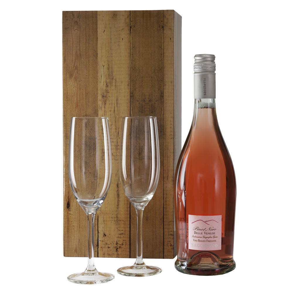 Prosecco ros� en 2 champagne glazen