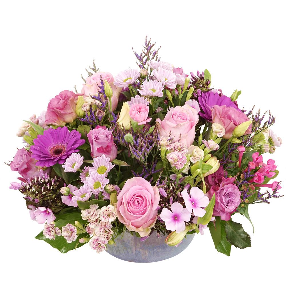 Biedermeier bloemstuk roze tinten kopen doe je bij van der Voort