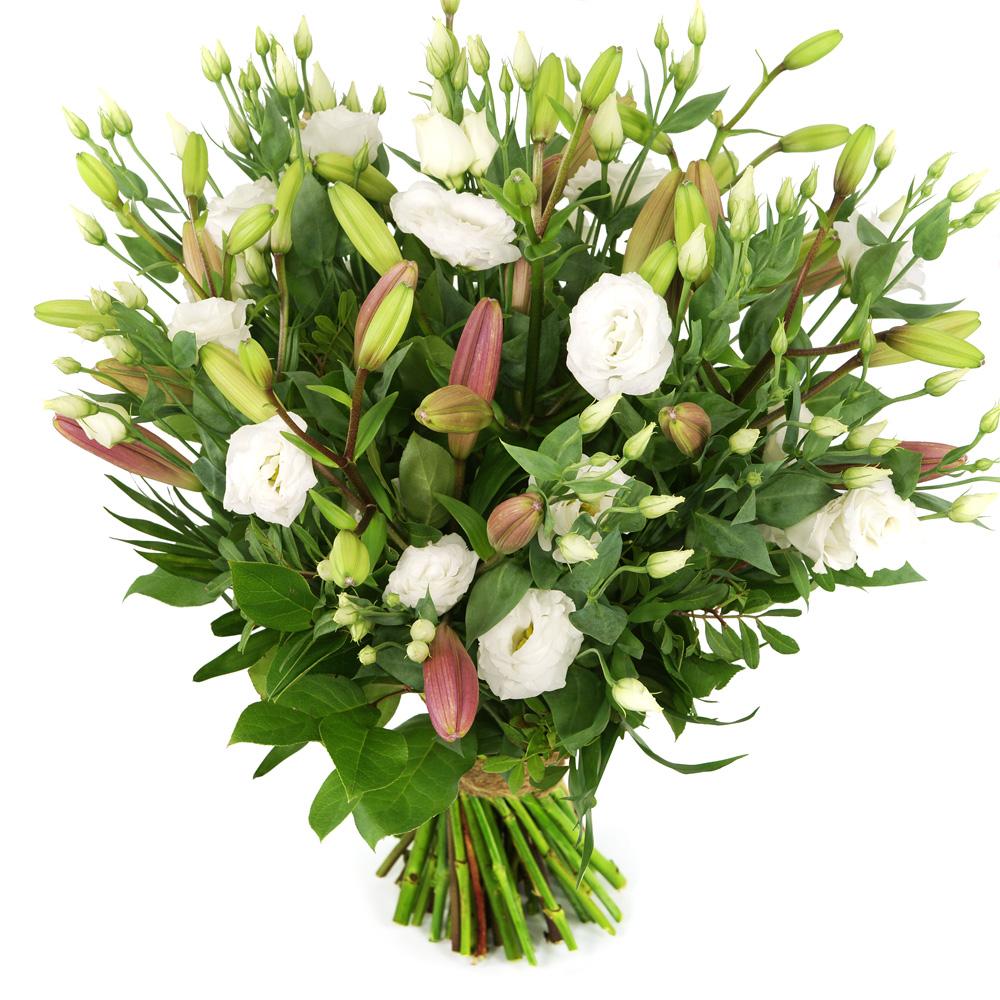 Boeket roze lelie en witte eustoma