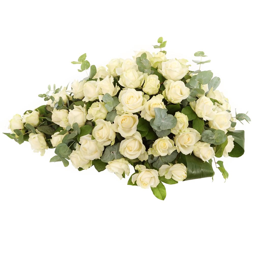 Witte rozen rouwstuk bezorgen