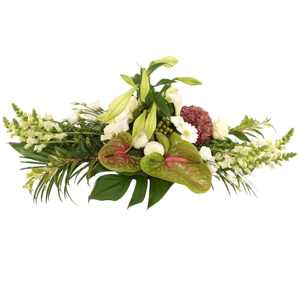 Wit begrafenis bloemstuk versturen