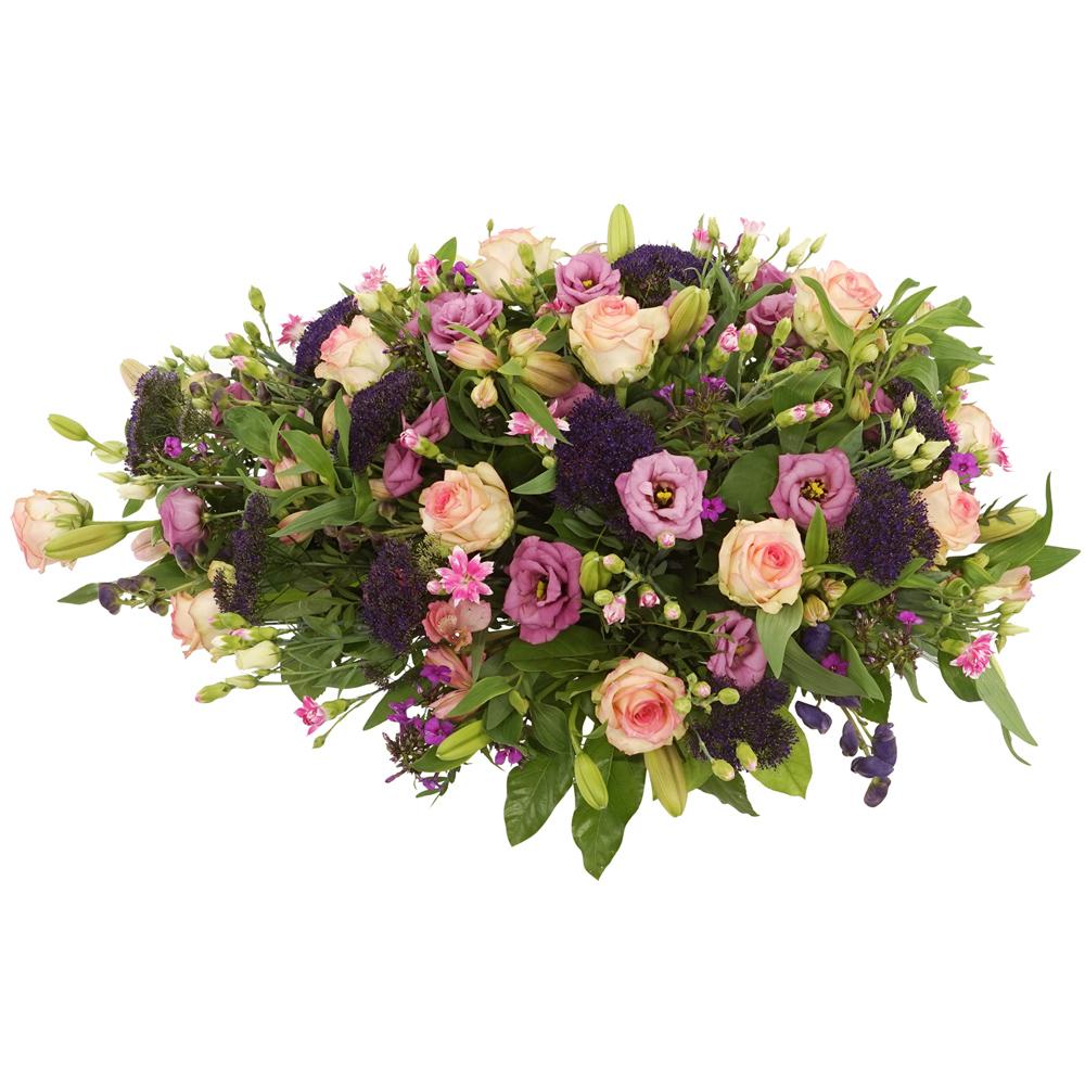 Rouwstuk roze paarse bloemen bestellen