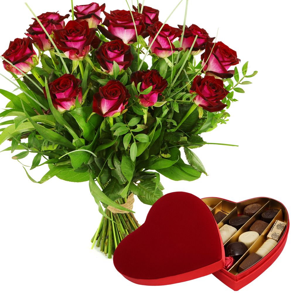 Boeket rode rozen en Leonidas bonbons bezorgen