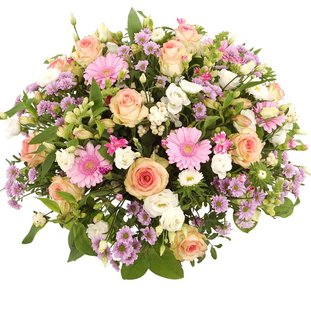 Pastel roze witte rouwbloemen bezorgen