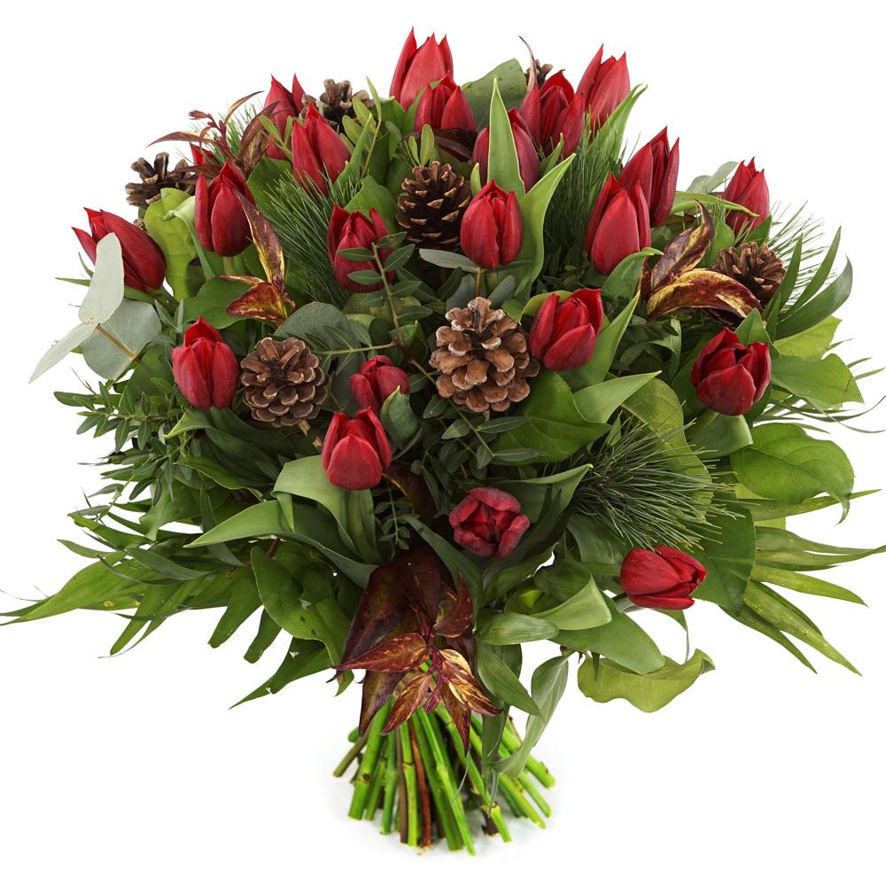 Rode kerst tulpen bezorgen