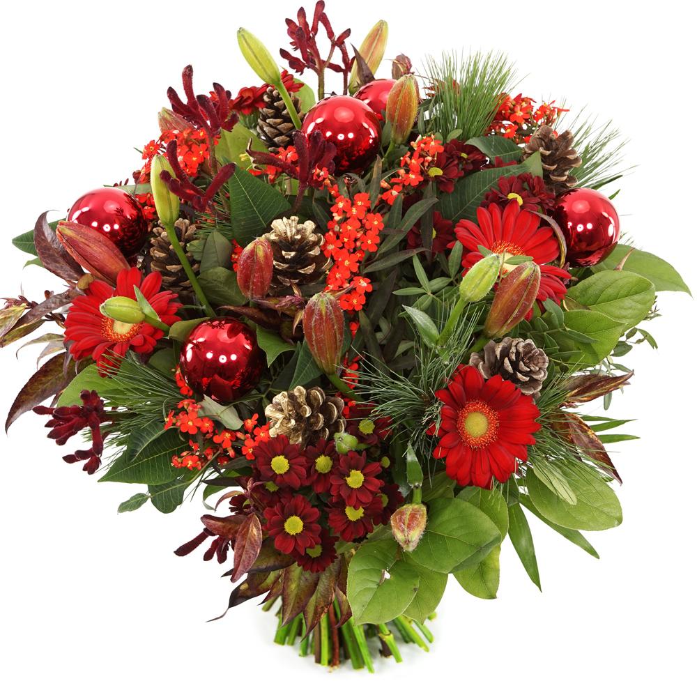Planten Kerstboeket rode bloemen bezorgen