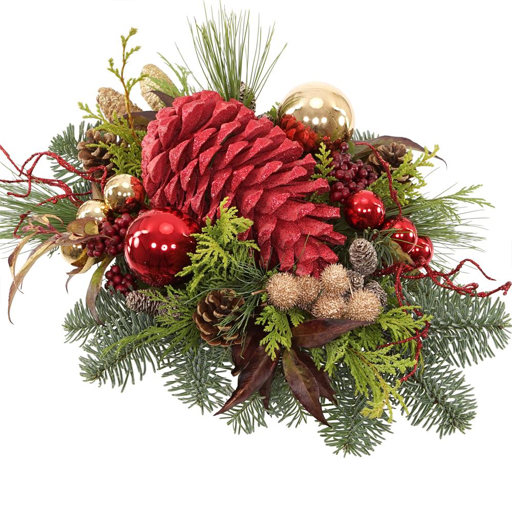 Grote glitter dennenappel kerststuk versturen