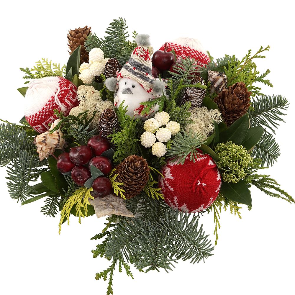 Kerststuk wit rood met Kerstman versturen