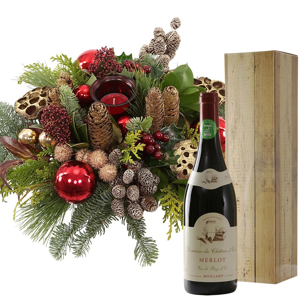 Kerststuk en Franse rode wijn