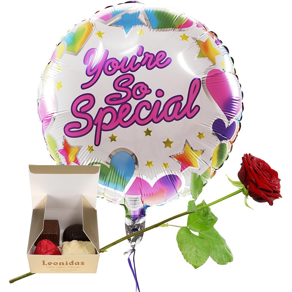 Planten Youre so Special Heliumballon Leonidas bonbons Rode roos