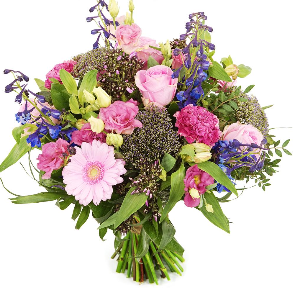 Boeket bloemen roze paars bezorgen