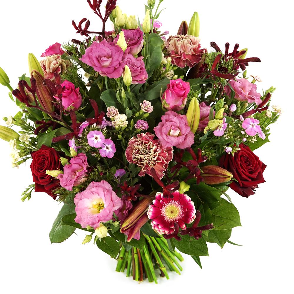 Planten Boeket Romance rode en roze tinten