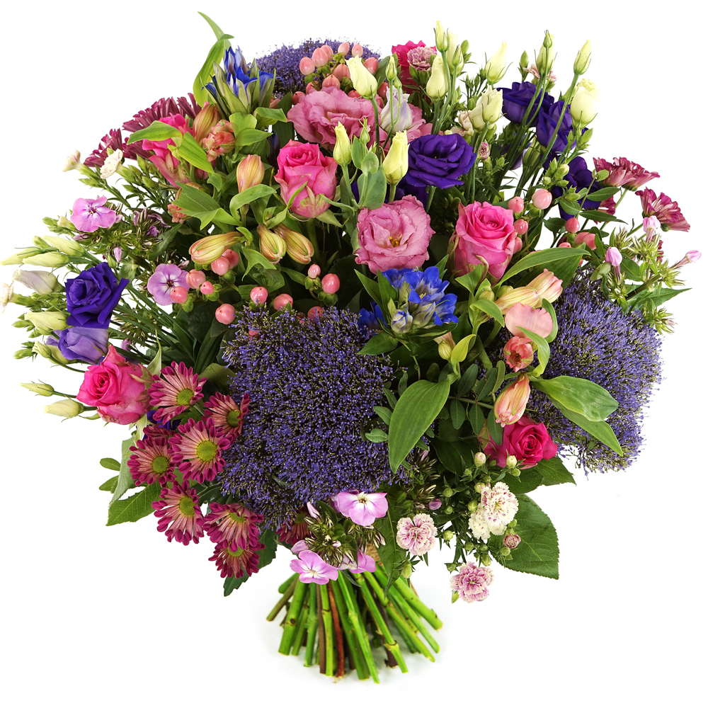 Boeket bloemen paars roze bezorgen
