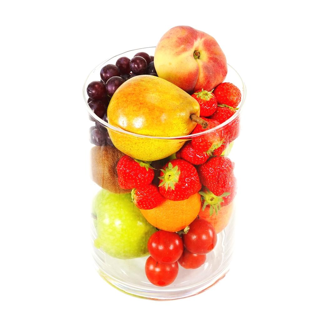 Glazen vaas met fruit bestellen