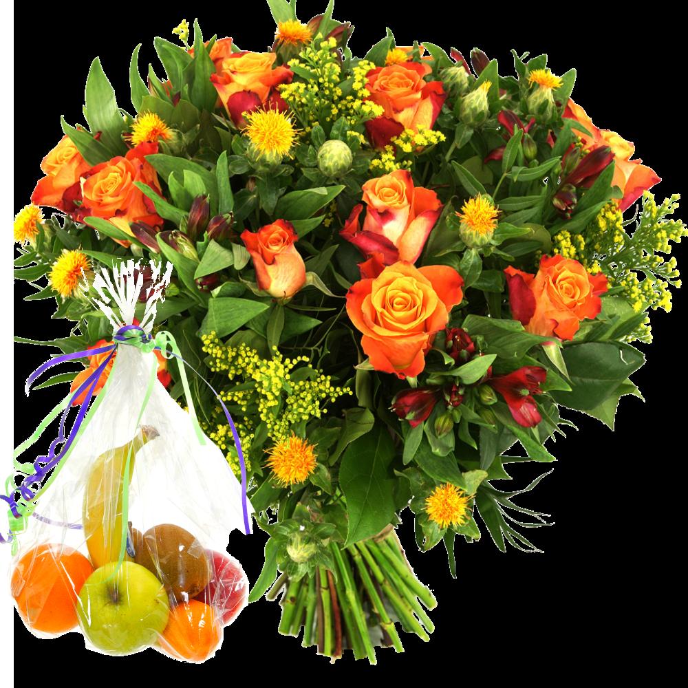 Vers fruit en oranje rozen boeket