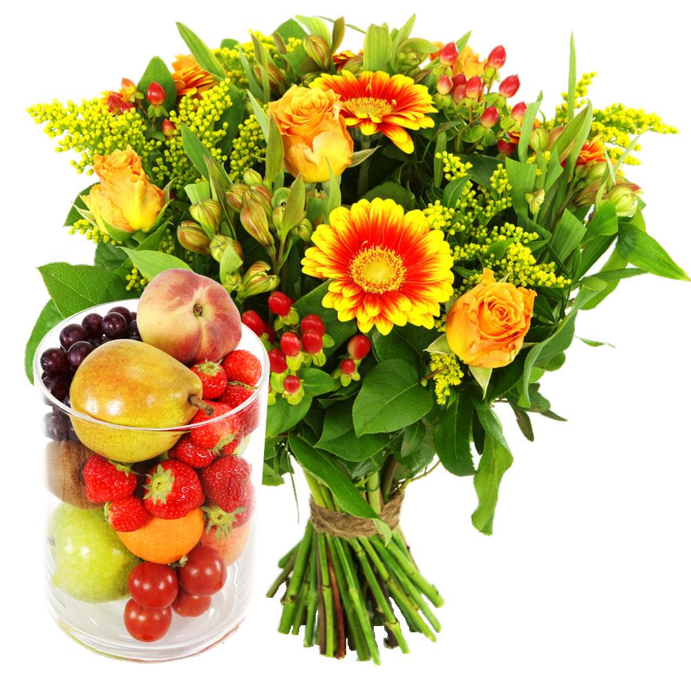 Voedselitems Glazen vaas gevuld met fruit en boeket bloemen