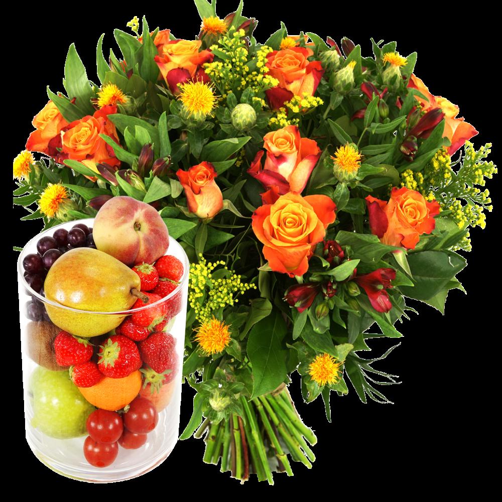 Glazen vaas met fruit en bloemen bezorgen