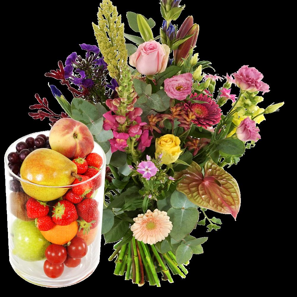 Bloemen fruit glazen vaas laten bezorgen