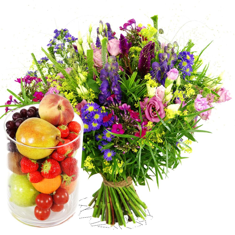 Bloemen bezorgen met glazen vaas en fruit