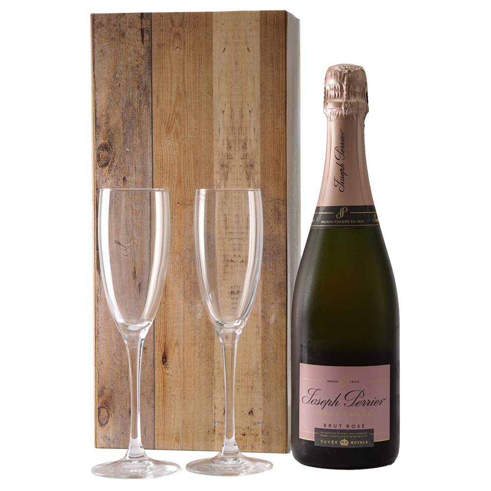 Champagne Joseph Perrier Ros� en champagne glazen