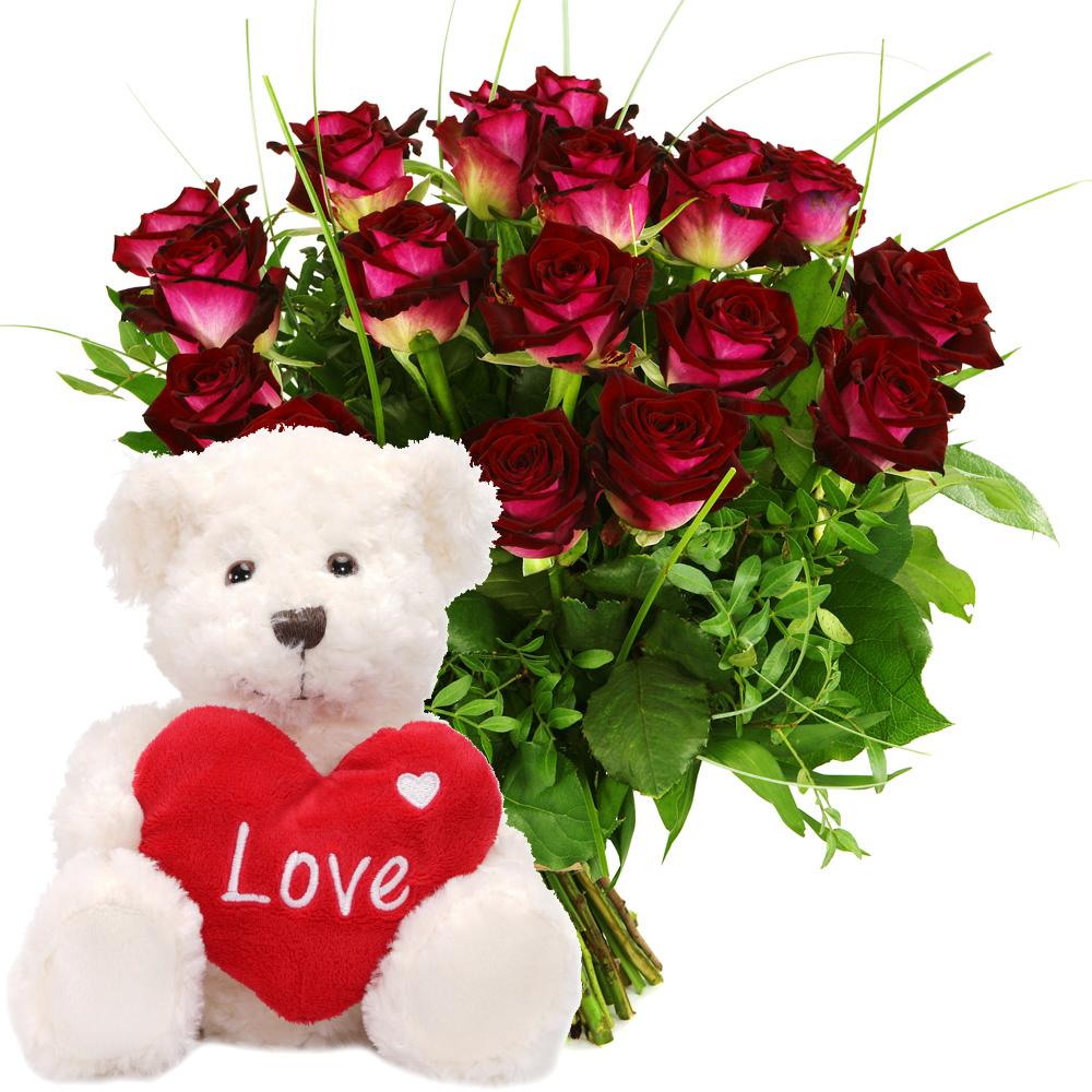 Rode rozen en Witte knuffel versturen