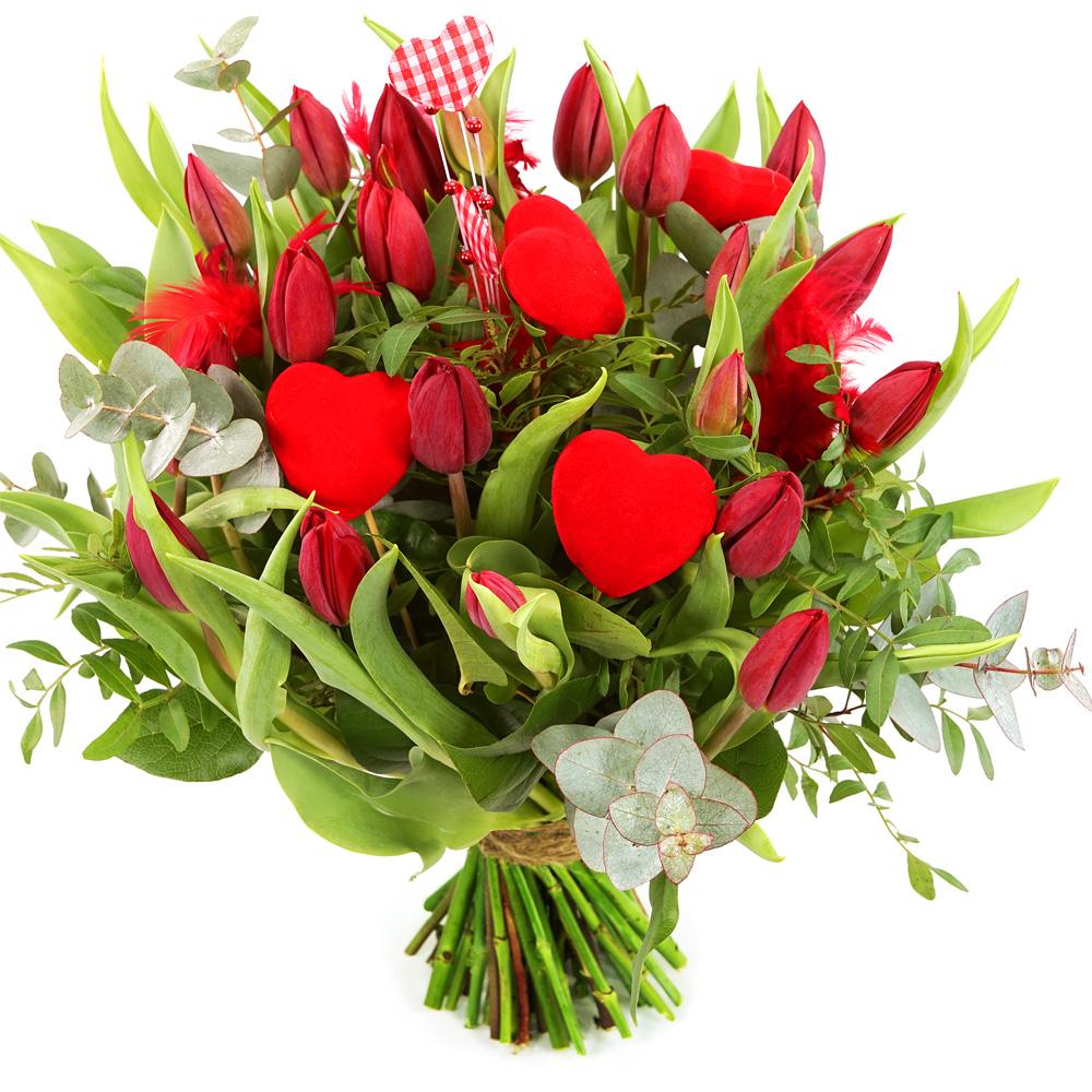 Rode tulpen met hartjes bezorgen
