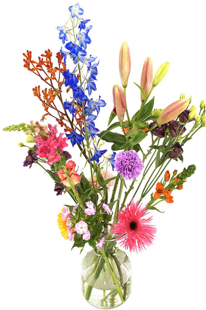 Planten Geplukt tuinboeket in glazen melkbus vaas