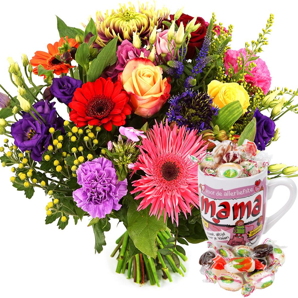 Fel gekleurde bloemen en Moederdag mok