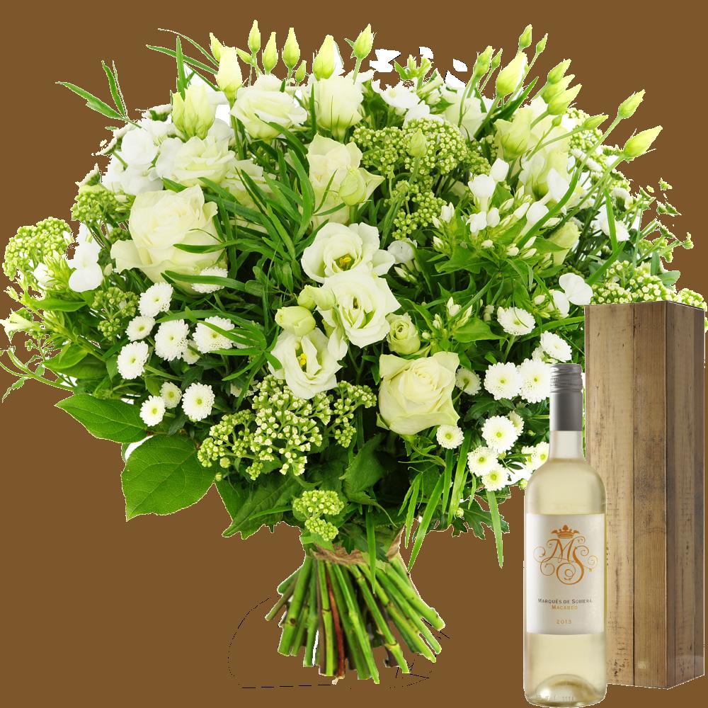 Moederdag witte bloemen en witte wijn bezorgen