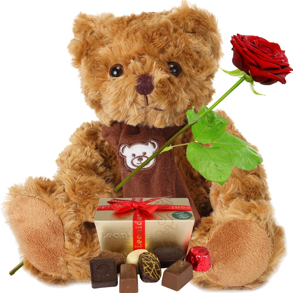 Bruine knuffel en Leonidas bonbons bezorgen